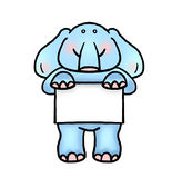 Elephant holding placard illustration. Baby elephant offering advertising/announcement space Stock Photos