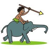 Elephant and hunter. Amusing illustration Royalty Free Stock Photography