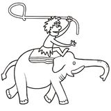 Elephant and hunter. Vector icon, coloring page Royalty Free Stock Image