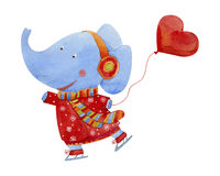 Elephant  ice skating. And holding a balloon in the shape of heart, watercolor illustration Royalty Free Stock Photo