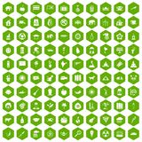 100 elephant icons hexagon green. 100 elephant icons set in green hexagon isolated vector illustration stock illustration