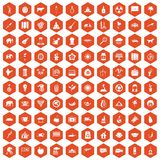 100 elephant icons hexagon orange. 100 elephant icons set in orange hexagon isolated vector illustration Royalty Free Stock Image