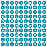 100 elephant icons sapphirine violet. 100 elephant icons set in sapphirine hexagon isolated vector illustration Stock Illustration