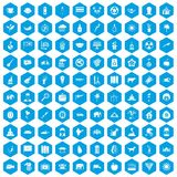 100 elephant icons set blue. 100 elephant icons set in blue hexagon isolated vector illustration vector illustration