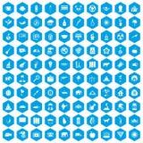 100 elephant icons set blue. 100 elephant icons set in blue hexagon isolated vector illustration Stock Photography