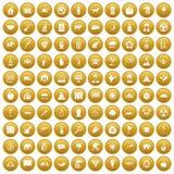 100 elephant icons set gold. 100 elephant icons set in gold circle isolated on white vectr illustration Vector Illustration
