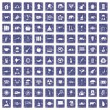 100 elephant icons set grunge sapphire. 100 elephant icons set in grunge style sapphire color isolated on white background vector illustration Stock Image