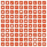 100 elephant icons set grunge orange. 100 elephant icons set in grunge style orange color isolated on white background vector illustration Royalty Free Illustration