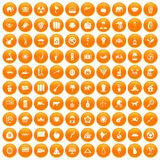 100 elephant icons set orange. 100 elephant icons set in orange circle isolated vector illustration Stock Illustration