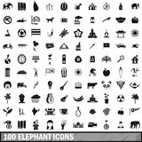 100 elephant icons set, simple style Royalty Free Stock Photos