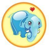 Elephant Illustration. Cartoon elephant with a heart above its head Stock Photo