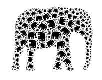 Elephant illustration. Small elephants composed in the shape of big elephant Stock Image
