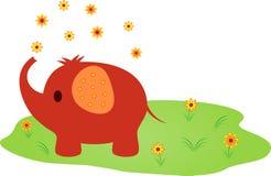 Elephant Illustration. Brown elephant and yellow flowers illustration, green grass, mammal, animal illustration, fauna Royalty Free Stock Images