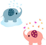 Elephant Illustrations, Pink Elephant, Blue Elephant. Pink and blue elephants with water , flowers and hearts, fauna, mammals, water pond, yellow flowers, pink Stock Photos