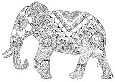 Elephant with Indian patterns Royalty Free Stock Images