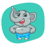 Elephant in Jeans Pants Keeps Paws on Waist Stock Photo