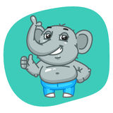 Elephant in Jeans Pants Showing Thumbs Up Royalty Free Stock Images