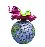 Elephant jumps over the world. Photo of a giant pink elephant jumping over the world on white background Royalty Free Stock Images