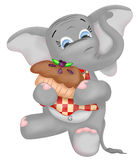 Elephant Jungle Animal. Illustration of an elephant with a napkin bib on eating a berry pie vector illustration