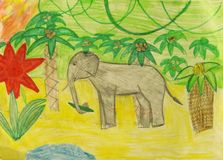 Elephant. The elephant in the jungle among palm trees child artwork Royalty Free Stock Photo