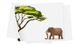Elephant in jungle on a paper Royalty Free Stock Images