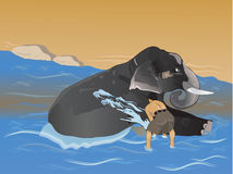 Elephant keeper man. Washing his elephant on the banks of river vector illustration