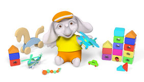 Elephant kid playing with toys 3d rendering. Joyful elephant kid character playing with airplane toy 3d rendering Royalty Free Stock Photography
