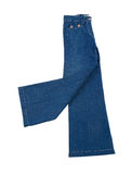 Elephant bell blue jeans. Elephant legs blue jeans isolated on white background Stock Images