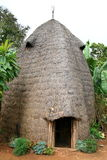 Elephant-like Ethiopian hut. Hut of Dorze tribe in Dorze village near Arba Minch in Southern Ethiopia. Its front resembles the face of an elephant. The huts Royalty Free Stock Image