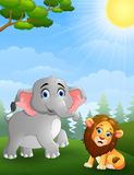 Elephant and lion cartoon in the jungle Stock Photos