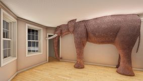 Elephant in the living room 3d rendering Stock Photos