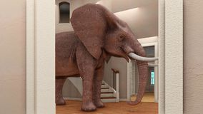 Elephant in the living room 3d rendering Stock Image