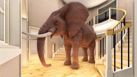 Elephant in the living room 3d rendering royalty free illustration