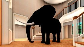 Elephant in the living room 3d rendering Royalty Free Stock Photography