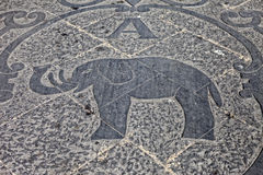 Elephant logo. On the marble pavement front Palazzo degli Elefanti - a symbol of the city - in Catania, Sicily, Italy Royalty Free Stock Images