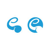 Elephant logo showing letter e with the trunk. Minimal illustration of an elephant head showing letter e with the trunk Royalty Free Stock Photo