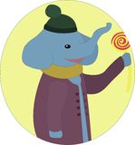 Elephant with lollipop Stock Image