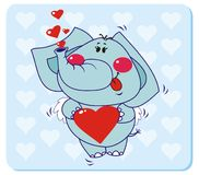Elephant in love. Elephant with Heart Shape. Vector illustration to Valentine's Day Stock Image