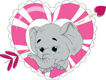 Elephant Love. An illustration featuring an elephant inside a heart with an arrow Stock Images
