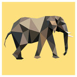 Elephant low poly. Elephant colorful low poly design  on yellow background with white outline. Animal card design. Background with wild animal. Vector Stock Photos