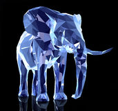 Elephant, low poly. 3d render of elephant, abstract geometric low poly Royalty Free Stock Photo