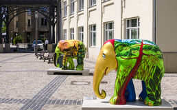 Elephant, Luxembourg City. LUXEMBOURG CITY, LUXEMBOURG: Elephants, made by Thommy HA and Peera Bangkae, part of the largest open air exhibition to preserve Asian Royalty Free Stock Images