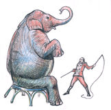 Elephant and mad tamer. Sitting circus elephant and mad tamer Stock Photography