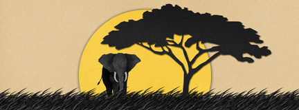Elephant  made from recycled paper background Royalty Free Stock Image