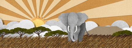 Elephant  made from recycled paper background Royalty Free Stock Photo