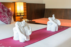 Elephant made from towels in the hotel Stock Image