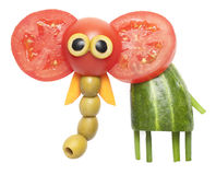 Elephant made of vegetables stock images