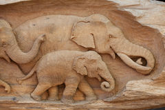 Elephant made from wood Royalty Free Stock Image