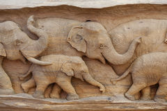 Elephant made from wood Royalty Free Stock Photos