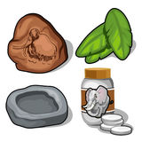 Elephant and mammoth topic, banana leaves, pills. Elephant and mammoth topic, banana leaves and pills. Animal theme. Four items isolated. Vector illustration on Stock Photo